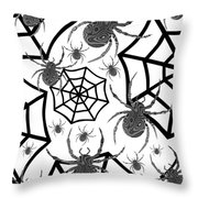 Black And White Halloween Throw Pillow