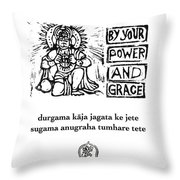 Black And White Hanuman Chalisa Page 36 Throw Pillow