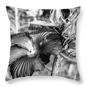 Black And White Hibiscus Throw Pillow
