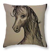Black And White Horse Throw Pillow by Ginny Youngblood