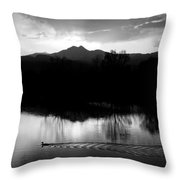 Black And White Lake Sunset Throw Pillow