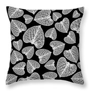 Black And White Leaf Abstract Throw Pillow