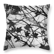 Black And White Leaves Throw Pillow