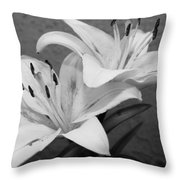 Black And White Lilies 1 Throw Pillow