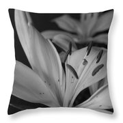 Black And White Lilies 2 Throw Pillow