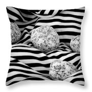 Black And White Lines And Stones  Throw Pillow