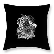 Black And White Love Bouquet Throw Pillow
