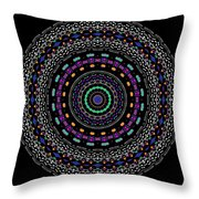 Black And White Mandala No. 4 In Color Throw Pillow