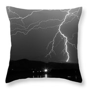 Black And White Massive Lightning Strikes Throw Pillow
