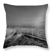 Black And White Misty Morning October Throw Pillow