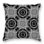 Black And White Modern Roses- Pattern Art By Linda Woods Throw Pillow