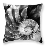 Black And White Nautilus Shell By Sharon Cummings Throw Pillow