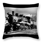 Black And White Of An Old Steam Engine  Throw Pillow