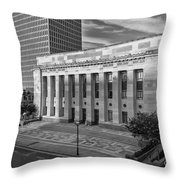 Black And White Of The Tennessee Supreme Court Building In Nashville Tennessee Throw Pillow