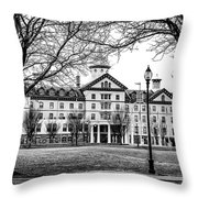 Black And White - Old Main - Widener University Throw Pillow