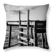 Black And White Old Time Dock Throw Pillow