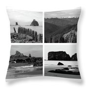 Black And White Olympic National Park Collage Throw Pillow
