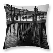 Black And White On The Pier Throw Pillow
