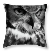 Black And White Owl Painting Throw Pillow