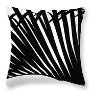 Black And White Palm Branch Throw Pillow