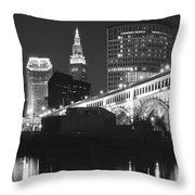Black And White Panorama Of Cleveland Throw Pillow