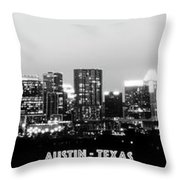 Black And White Panoramic View Of Downtown Austin Throw Pillow