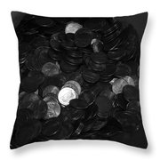 Black And White Pennies Throw Pillow