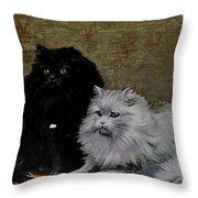 Black And White Persians Throw Pillow
