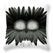 Black And White Petals Throw Pillow