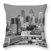 Black And White Philadelphia - Delaware River Throw Pillow