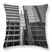 Black And White Philadelphia - Skyscraper Reflections Throw Pillow