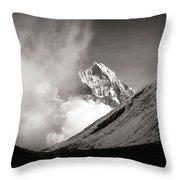 Black And White Photo Of Snow Peak In Nepal Throw Pillow
