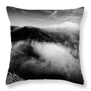 Black And White Photograph Of Fog Rising In The Marin Headlands - Sausalito Marin County California Throw Pillow