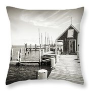 Black And White Photography - Martha's Vineyard - Black Dog Wharf Throw Pillow