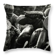 Black And White Photography - Motorcyclists Throw Pillow