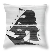 Black And White Pirate Ship Against The Sea And Crushing Waves. Double Exposure Throw Pillow