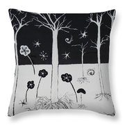 Black And White Poppies Throw Pillow