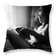 Black And White Portrait Of A Sexy Woman In Large Reading Glasse Throw Pillow