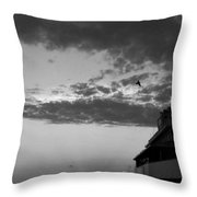 Black And White Pre-sunrise On Daytona Beach Pier  002 Throw Pillow