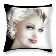 Black And White Red Lips Throw Pillow