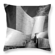 Black And White Rendition Of The Walt Disney Concert Hall - Downtown Los Angeles California Throw Pillow