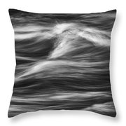 Black And White River Water Abstract  Throw Pillow