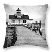 Black And White  Roanoke Lighthouse Throw Pillow