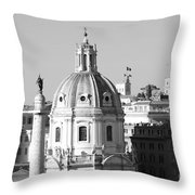 Black And White Rooftop In Rome Throw Pillow