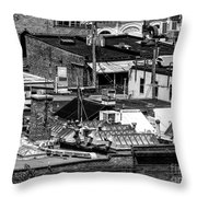 Black And White Rooftops Throw Pillow