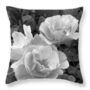 Black And White Roses 1 Throw Pillow