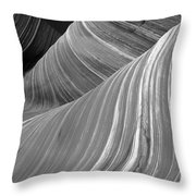 Black And White Sandstone Waves Throw Pillow