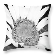 Black And White Sunflower Face Throw Pillow