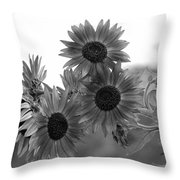 Black And White Sunflowers Throw Pillow