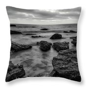 Black And White Sunset At Low Tide Throw Pillow